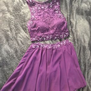 Purple two Piece Formal Dress
